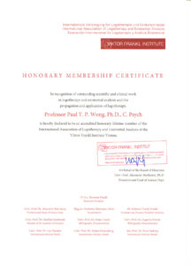 Paul's certificate of accreditation from the Viktor Frankl Institute of Vienna.