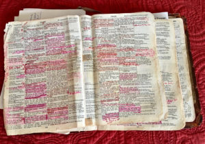 My worn-out Bible from Lee Hobel